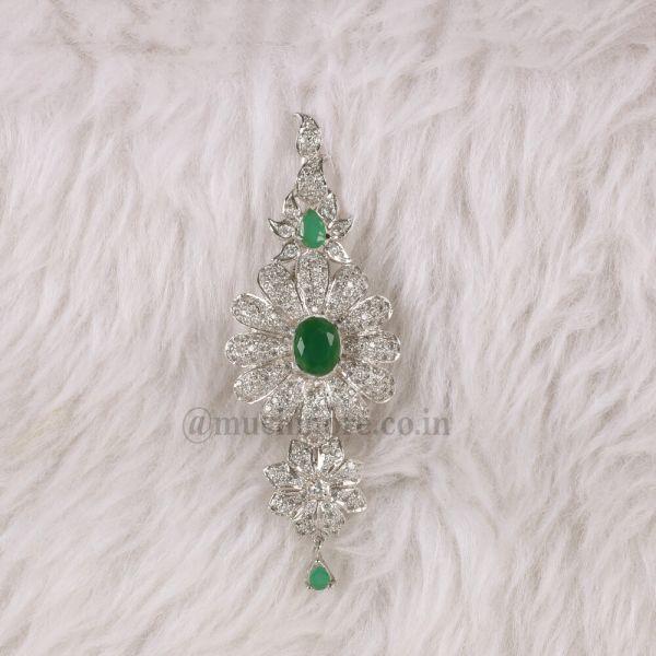 Green Diamond Groom Wedding Sherwani Turban Pin