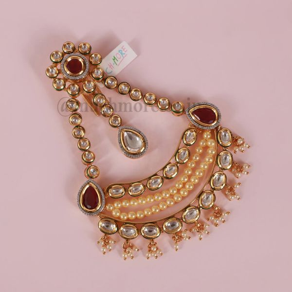 Gold Tone Kundan Handcrafted Passa With Pearls