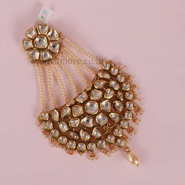 Gold Plated Kundan Big Passa With Pearl Drop