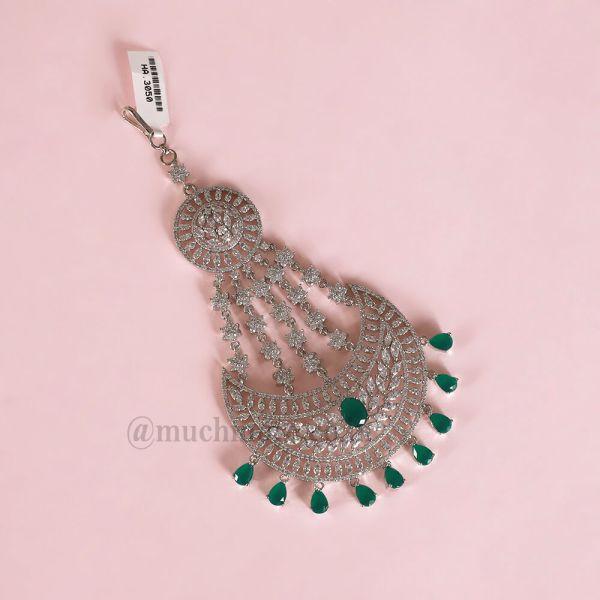 Emerald Stone Jhoomer Passa Statement For Indian Bride