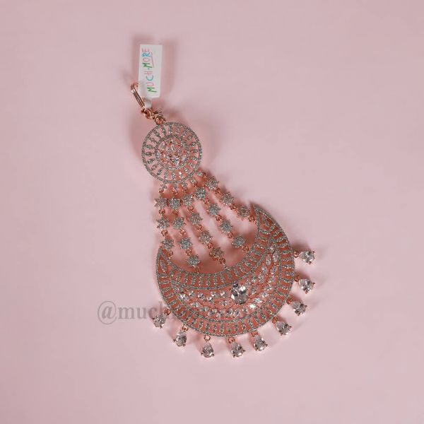 Designer Rose Polish Diamond Jhoomar For Bride