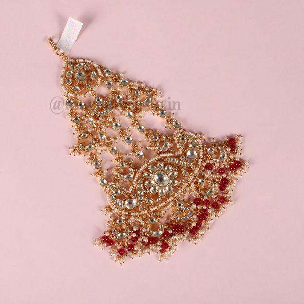 Kundan Handcrafted Ruby Gold Polish Royal Pasa Jhoomer