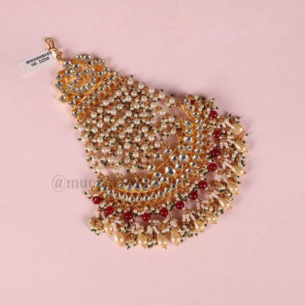 Gold Tone Kundan Passa With Pearls For Bride