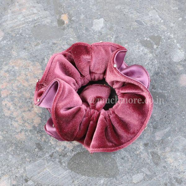 Women Solid Velvet Scrunchie Ruffle