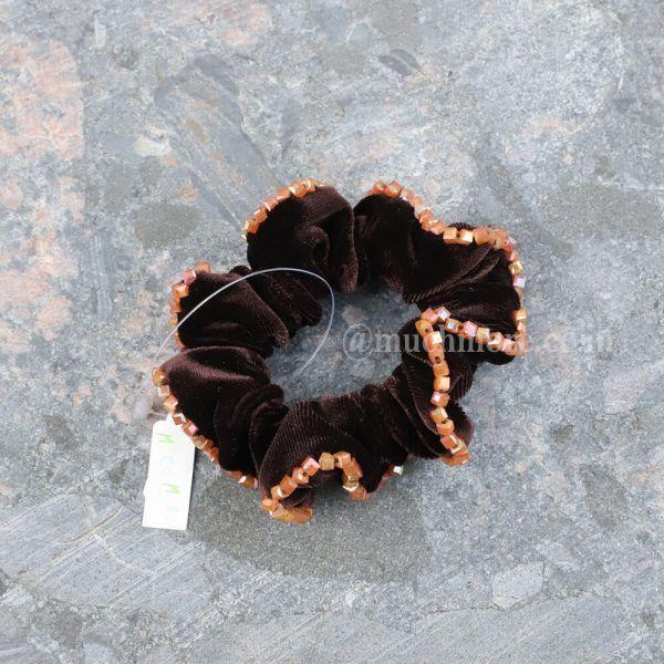 Velvet Finish Beaded Scrunchies