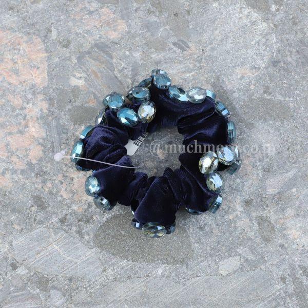 Velvet Finish Crystals Scrunchies