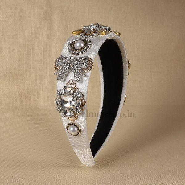 Women White  Stone-Studded Hairband
