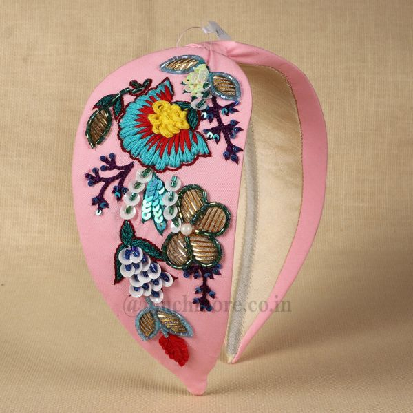 Pink-Toned Embroidered Hairband