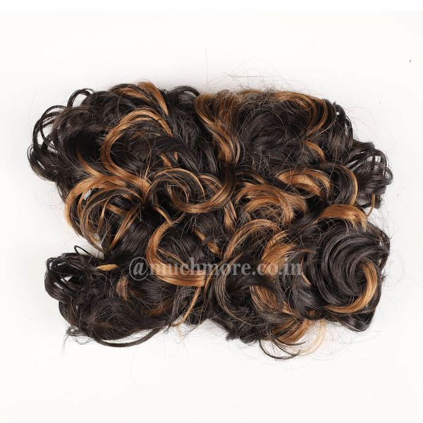 Messy Bun Hair Extensions With Golden Brown Highights