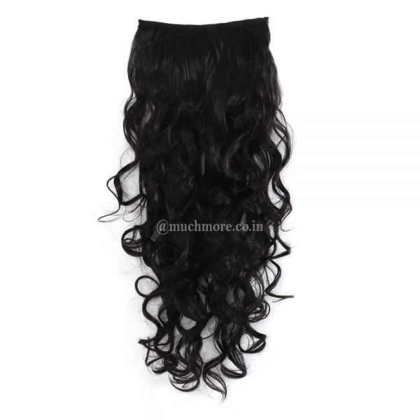 Curly Hair Extensions In Black Color For Girls