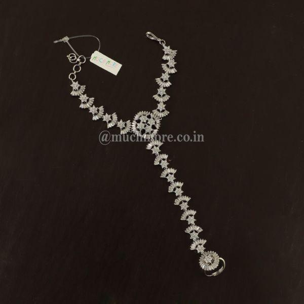 Silver Polish Diamond Hand Harness For Bride