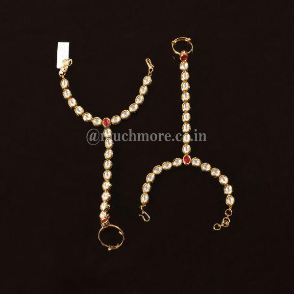 Gold Tone Kundan Adjustable Hand Harness (Set of 2)