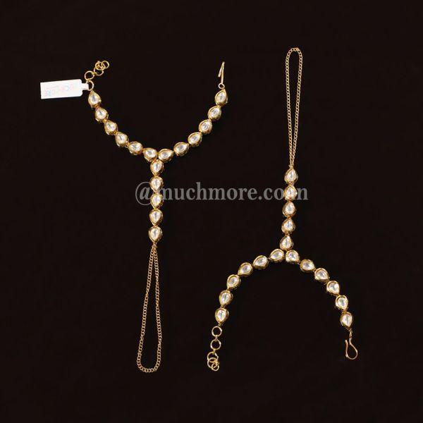 White Gold Plated Kundan Beaded Bracelet Hathphool