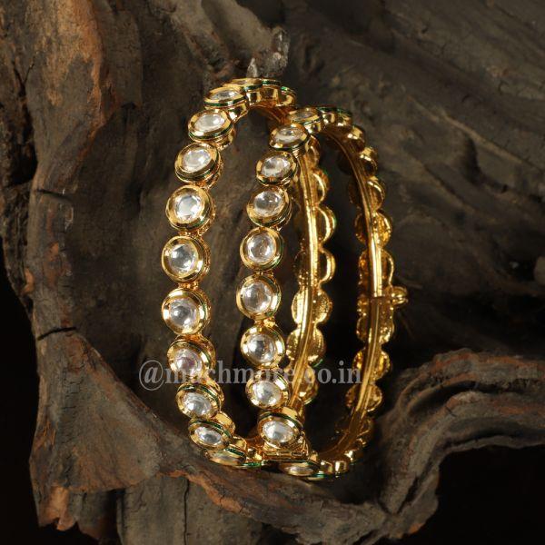 Round Kundan-Studded Handcrafted bangle Set Of 2