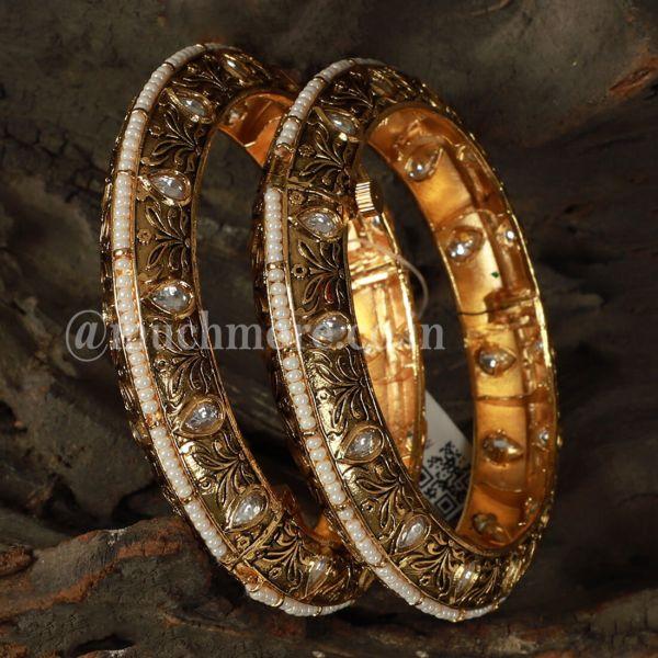 Gold Tone Beads And Kundan Work Openable bangles