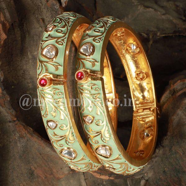 Gold Plated Kundan And Meenakari Bangle