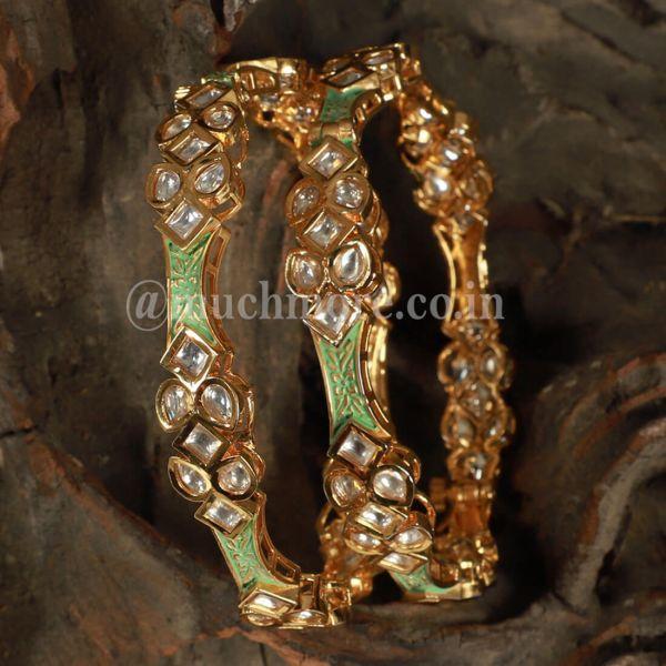 Designer Mint Green Meenakari Bangles Set