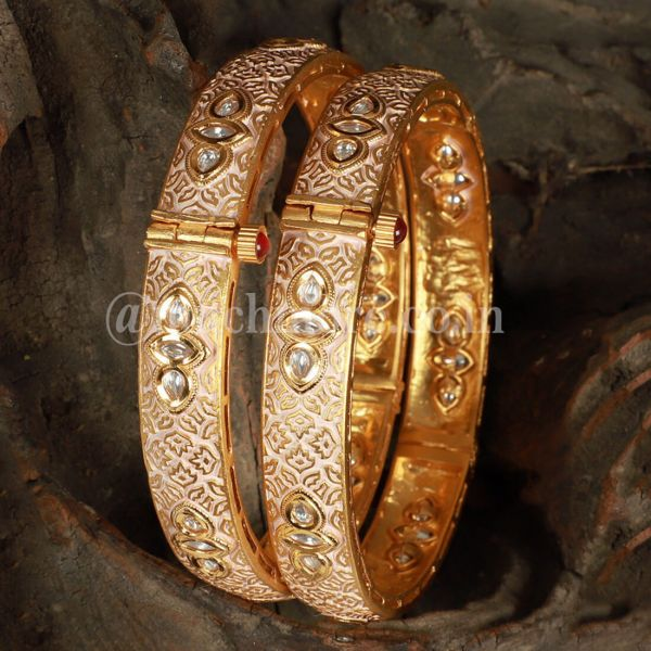 Gold Tone Kundan Inspired Meenakari Bangles