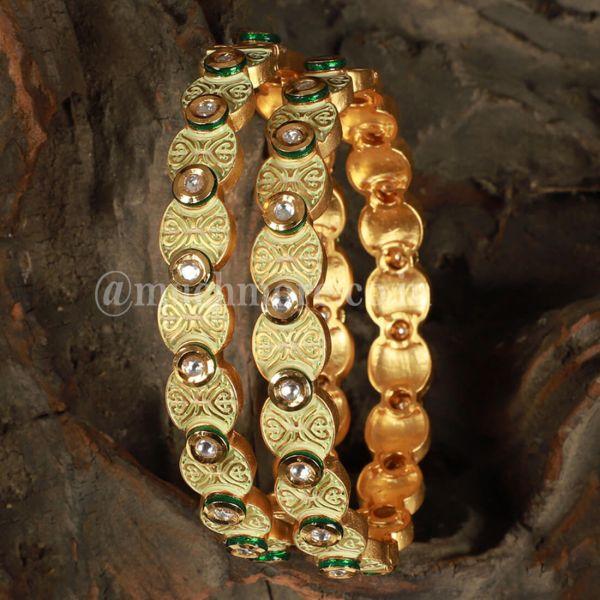 Mint Gold Tone Kundan Inspired Meenakari Bangles