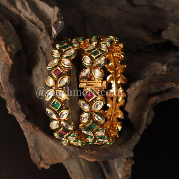 Ruby Emerald Green Designer Kundan Kada Bangles