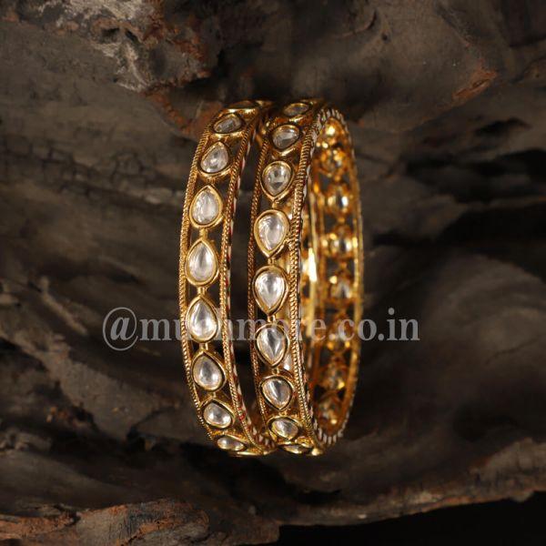 Classic Kundan Gold Plated Women's Bangles