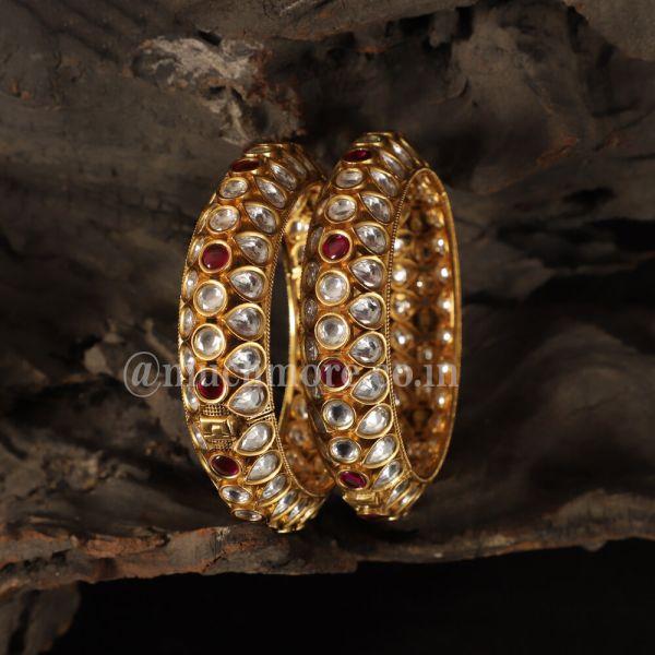 Exclusive Ruby Color Gold Tone Kundan Bangles