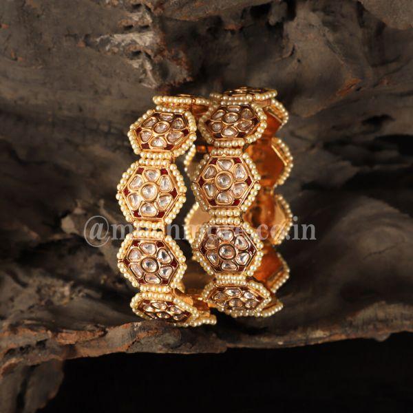 Uncut Kundan With Beads Work Bangles