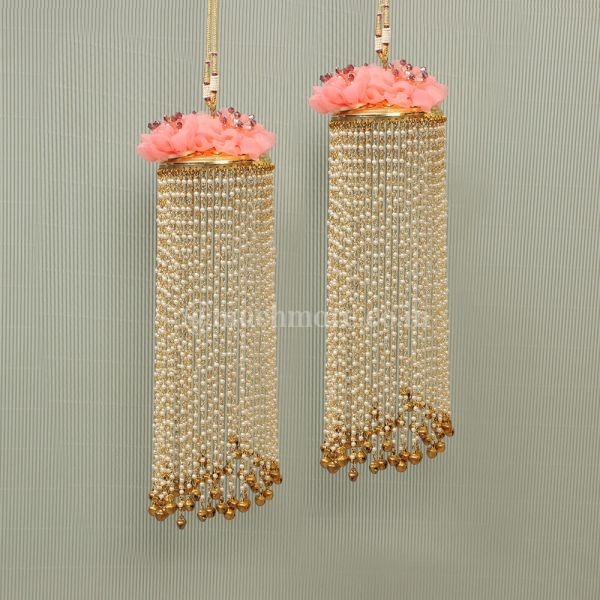 Peach Flower kaleeras With Tiny Bells Hanging