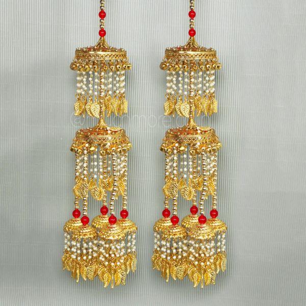 Gold With Ruby Beads Bridal Kaleera