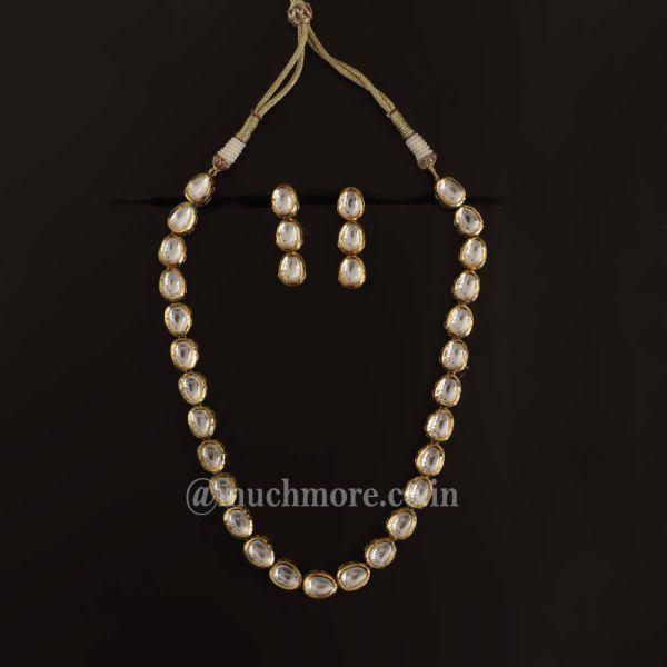 Single Line Kundan Chain Style Necklace Set