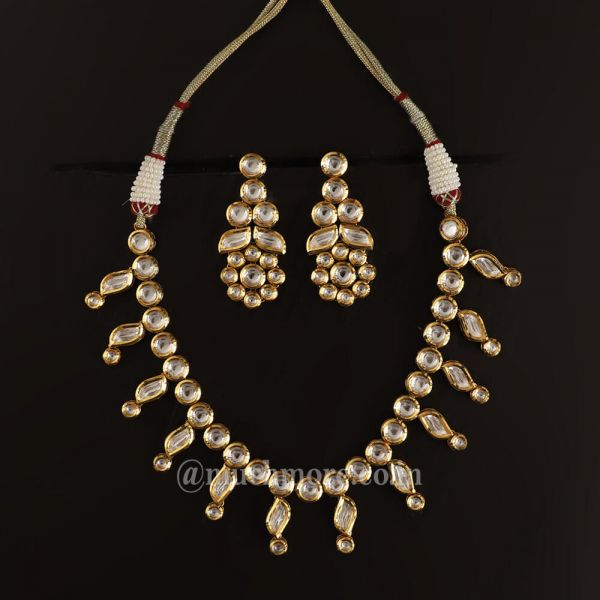 Gold Kundan White Cascade Earring and Necklace Set