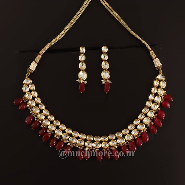 Double Layered Ruby Drop Classic Necklace Set
