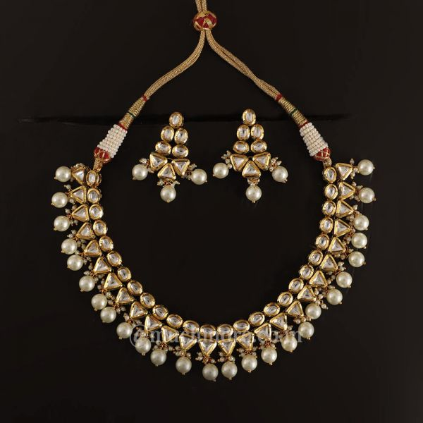 Double layered kundan Necklace With Pearl Drop
