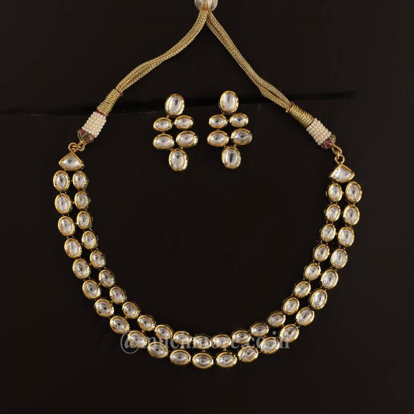 Buy High quality White Kundan Stone Double Layer Necklace