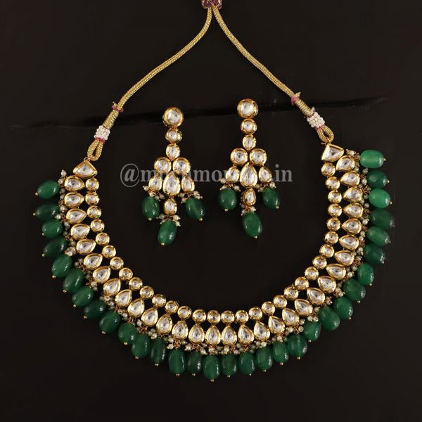 Double layered kundan Necklace With emerald Drop