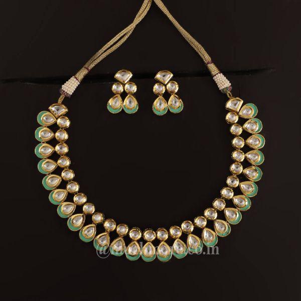 Shop Online Double layer kundan Necklace Earrings
