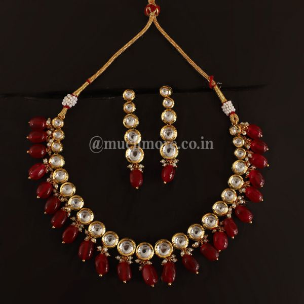 Ruby Drops Droplet Design layered Kundan Necklace Set