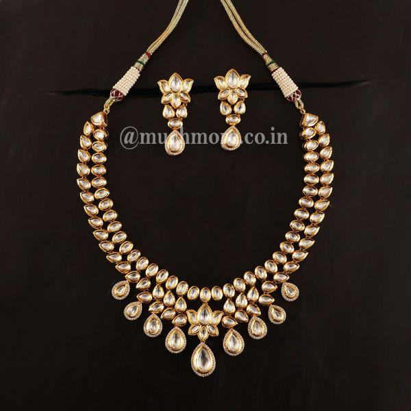 Lotus Flower Kundan Gold Polish Necklace