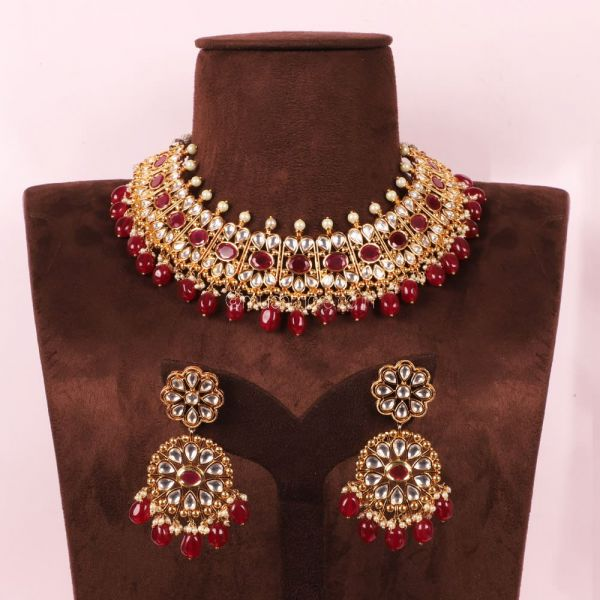 Designer Ruby Gold Polish necklace With Big Earrings