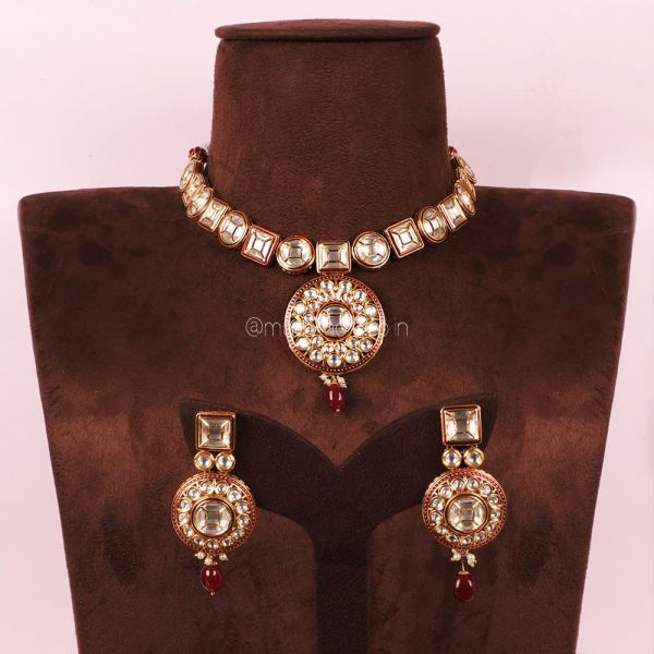 Ruby Kundan Pendant Style Necklace With Earrings