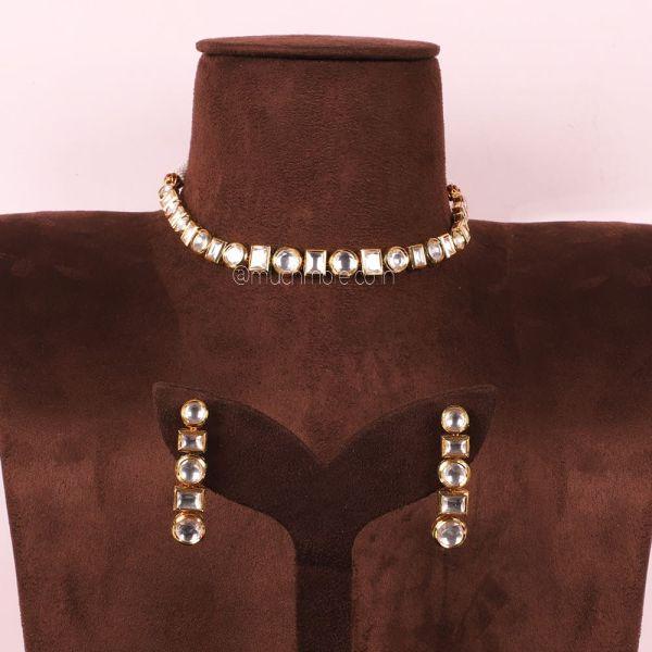 Single Line Kundan Necklace Set At Best Price