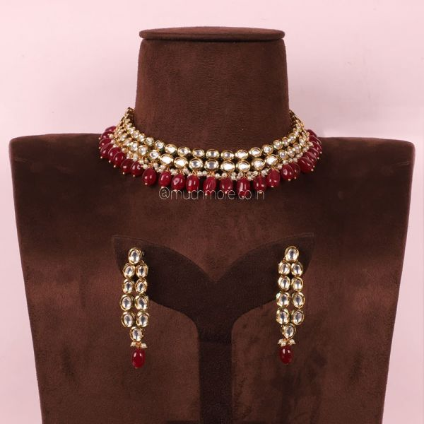 Ruby Hanging Kundan Statement Necklace Set