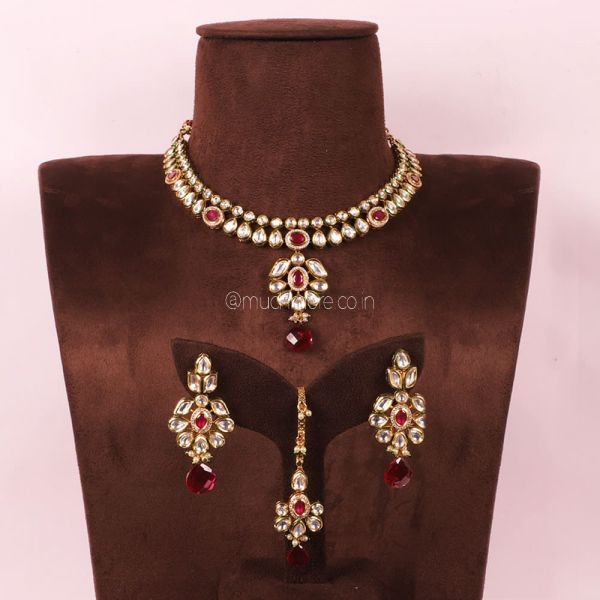 Ruby Exclusive necklace With Earrings And Maang Tikka