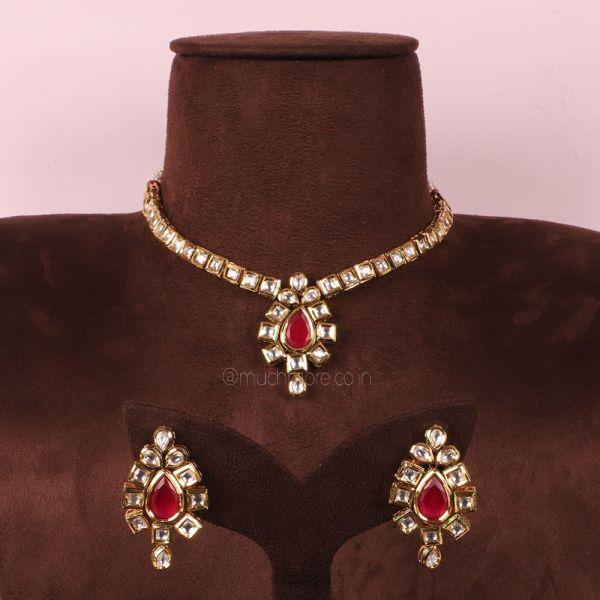 Ruby kundan Single Sine Necklace Set