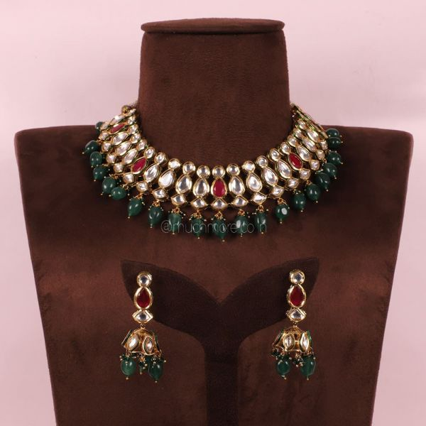 Emerald Green With Ruby Kundan Necklace With Jhumki