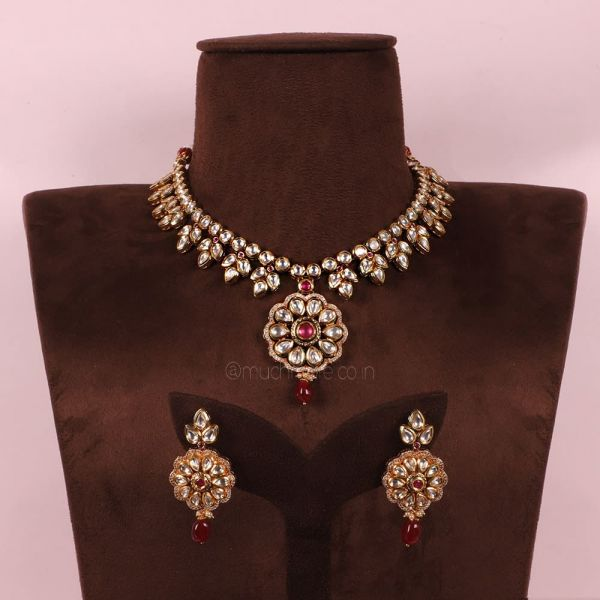 Ruby Necklace With Earrings For Women