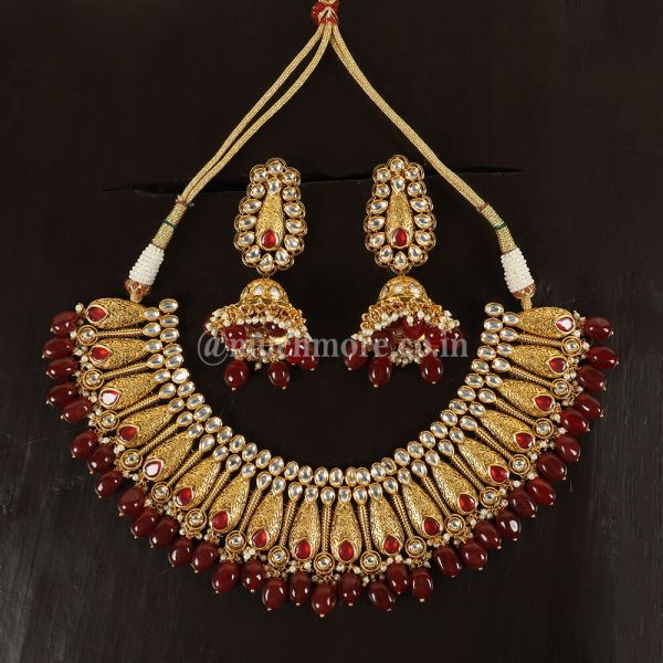 Ruby Dropping Padmaavat  Kundan Necklace By Much More