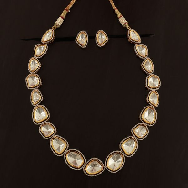 Irregular Shape Uncut Kundan Necklace And Earrings Set