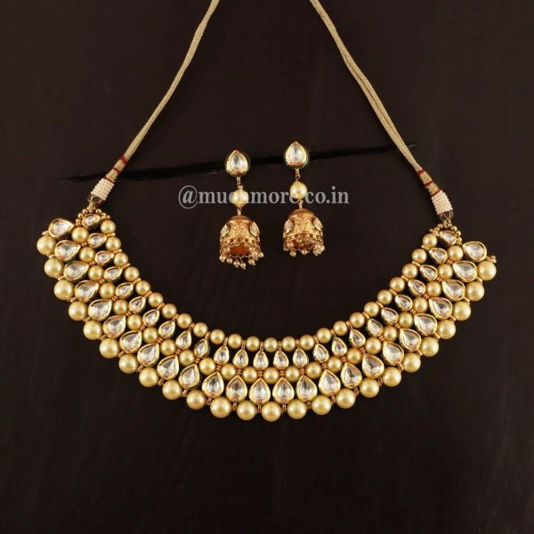 Kundan And Pearl Beaded Necklace With Jhumki Earring