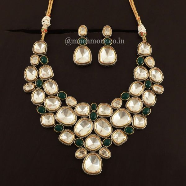 Kundan Polki Green Necklace With Earrings